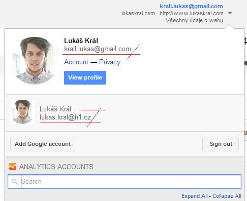 nové rozhraní google analytics - přepínaní mezi účty