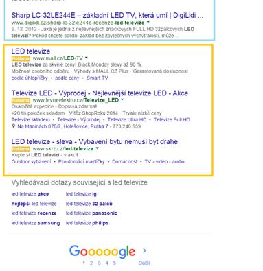 Vyhledávaní Google (spodní část): neplacené výsledky, 3 inzeráty